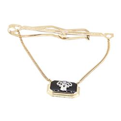 Tie Clip with Black Onyx - 10KT Yellow Gold