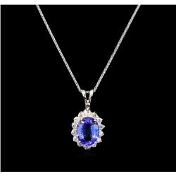 3.00 ctw Tanzanite and Diamond Pendant With Chain - 14KT White Gold