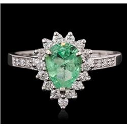 14KT White Gold 0.88 ctw Emerald and Diamond Ring