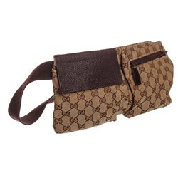 Gucci Brown Beige GG Canvas Leather Waist Bag