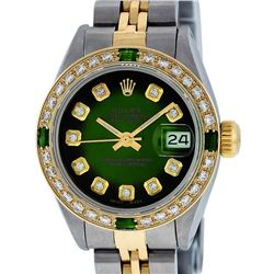 Rolex Ladies 2 Tone Green Vignette Diamond Datejust Wristwatch