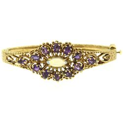 Vintage 14K Yellow Gold 3.75 ctw Amethyst & Opal Textured Open Bangle Bracelet