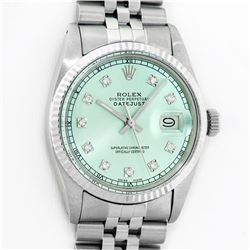 Rolex Mens Stainless Steel Ice Blue Diamond Datejust Wristwatch With Rolex Box