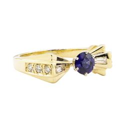 0.88 ctw Blue Sapphire and Diamond Ring - 14KT Yellow Gold