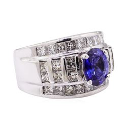 3.02 ctw Sapphire And Diamond Ring - 14KT White Gold