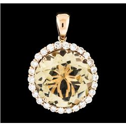 23.21 ctw Lemon Quartz and Diamond Pendant - 14KT Rose Gold