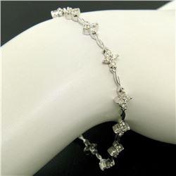 18K White Gold 1.65 ctw Diamond Flower Cluster Twisted Wire Link Tennis Bracelet