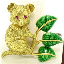 Vintage 18k Gold Detailed Koala Brooch Pin w/ Ruby Eyes & Green Enamel Leaves
