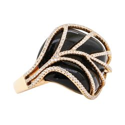 1.12 ctw Diamond and Black Coral Ring - 14KT Rose Gold