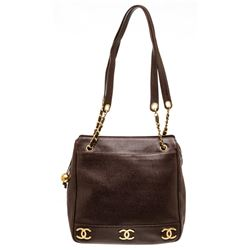 Chanel Brown Caviar Leather Tote Shoulder Bag