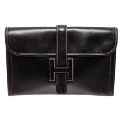 Hermes Black Leather Jige Clutch Bag