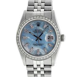Rolex Mens Stainless Steel Blue MOP Baguette Diamond 36MM Datejust Wristwatch