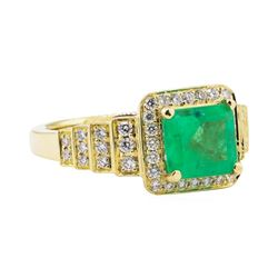 2.56 ctw Emerald and Diamond Ring - 18KT Yellow Gold