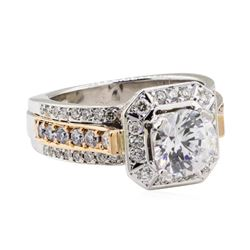 4.06 ctw Cubic Zirconia and Diamond Ring - 18KT White and Rose Gold