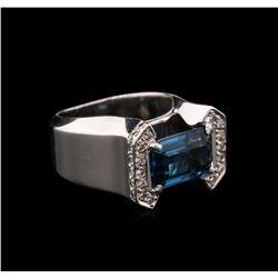 3.50 ctw Blue Topaz and Diamond Ring - 14KT White Gold