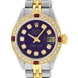 Rolex Ladies 2 Tone Purple Diamond & Ruby Datejust Wristwatch