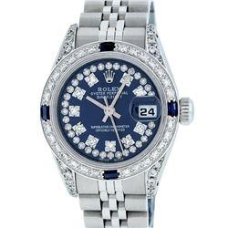 Rolex Ladies Stainless Steel 26MM Blue Diamond Lugs Datejust Wristwatch