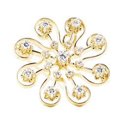 1.20 ctw Diamond Pendant-Pin - 14KT Yellow Gold