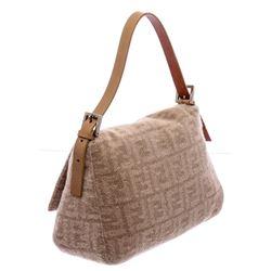 Fendi Beige Cashmere Leather Zucca Mamma Forever Shoulder Bag