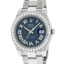 Rolex Mens Stainless Steel Black Roman Diamond 3.5 Carat 41MM Datejust 2 Wristwa