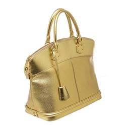 Louis Vuitton Gold Suhali Leather Lockit MM Tote Handbag