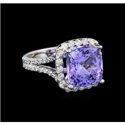 14KT White Gold 6.81 ctw Tanzanite and Diamond Ring
