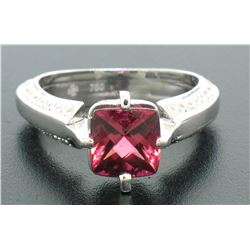 18k White Gold Cushion Rubellite Tourmaline Ring w/ 0.79 ctw Pave Fine Diamonds