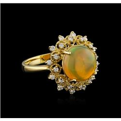 3.30 ctw Opal and Diamond Ring - 14KT Yellow Gold