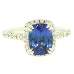 14k White Gold 3.03 ctw Diamond and Cushion Cut Tanzanite Quality Modern Ring