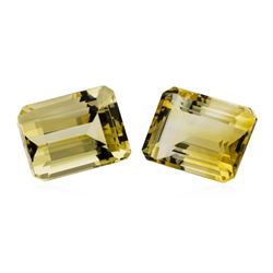 27.63 ctw.Natural Emerald Cut Citrine Quartz Parcel of Two