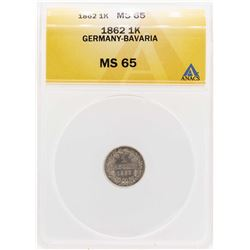 1862 Germany-Bavaria 1 Kreuzer Coin ANACS MS65