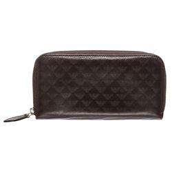 Emporio Armani Dark Brown Leather Zipper Wallet