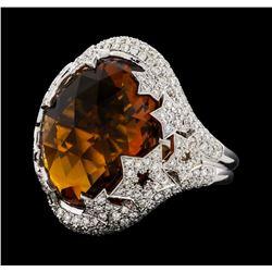 14.00 ctw Citrine and Diamond Ring - 14KT White Gold