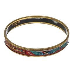 Hermes Multicolor Narrow Printed Enamel Bangle Bracelet
