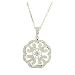 0.05 ctw Diamond Pendant With Chain - 14KT White Gold