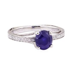 1.70 ctw Blue Sapphire and Diamond Ring - 18KT White Gold
