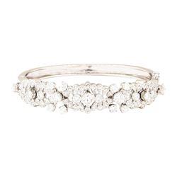 4.25 ctw Diamond Bangle Bracelet - 14KT White Gold