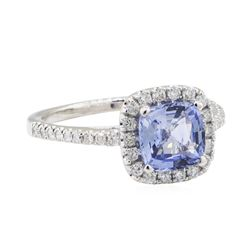 1.96 ctw Sapphire and Diamond Ring - 14KT White Gold