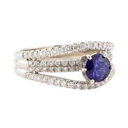 1.67 ctw Blue Sapphire And Diamond Ring - 18KT White Gold