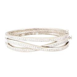 2.70 ctw Diamond Bangle Bracelet - 18KT White And Yellow Gold