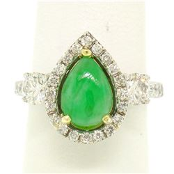 14k Two Tone Gold Pear Jade & Large Diamond Accents w/ Halo 2.89 ctw Ring