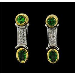 1.34 ctw Tsavorite and Diamond Earrings - 18KT Yellow and White Gold