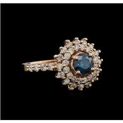 1.56 ctw Fancy Green Diamond Ring - 14KT Rose Gold