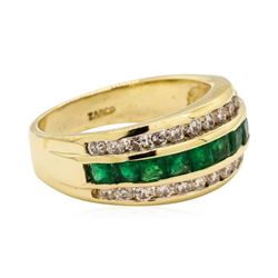 1.30 ctw Emerald and Diamond Ring - 14KT Yellow Gold