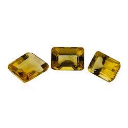 3.49 ctw.Natural Emerald Cut Citrine Quartz Parcel of Three