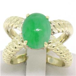 14k Solid Gold Open Twisted Wire Bands Open Wide Cabochon Green Jade Ring