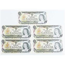 Lot (5) Bank of Canada 1973 1.00 (BAX Prefix) BC46