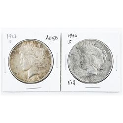 Lot (2) USA Silver Peace Dollars: 1922 and 1923(S)