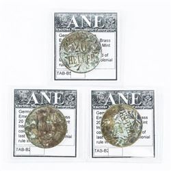 Lot (3) German East Africa Emergency Coinage, Bras