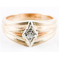Estate 10kt Gold Band Ring, Set with Diamond Size